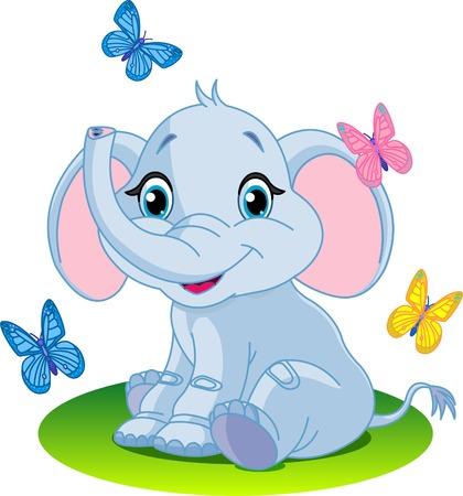Zeer schattige baby olifant zitten; op de weide; Stock Illustratie