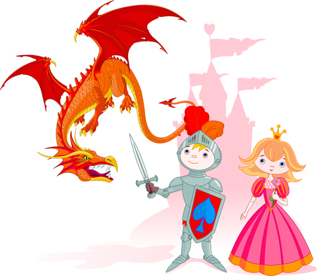 cartoon knight: The brave knight protects the princess from a dragon