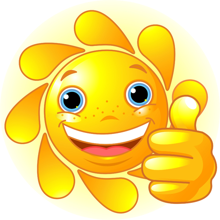Cute and happy Sun with hand giving thumbs up