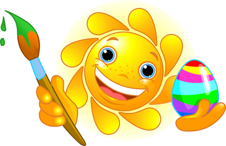 coloring easter egg: Cute and happy Sun coloring Easter Egg