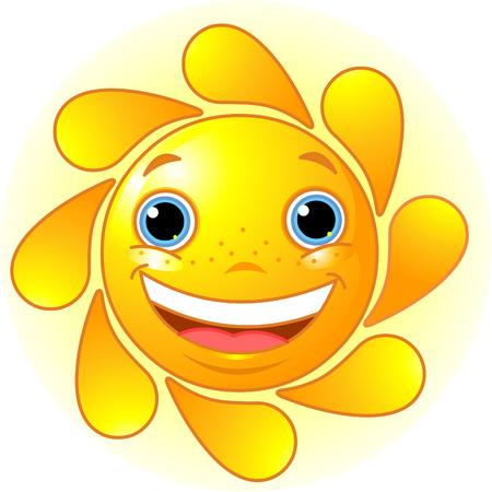 キュートで光沢のある太陽