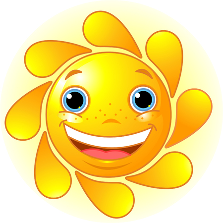 human face: Cute and shiny Sun  Illustration