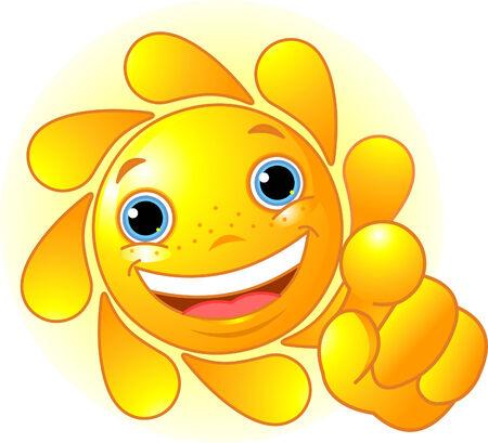 Leuke en glanzende zon die naar ons wijst