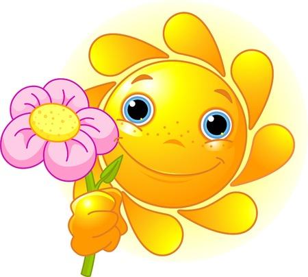 sol caricatura: Dibujos animados caracteres de Cute Summer Sun dando una flor Vectores