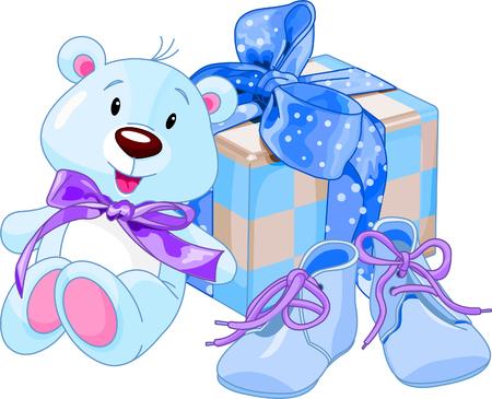 귀여운 신생아 아기를위한 선물의 일러스트 레이션