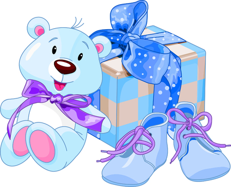 Illustration of gifts for cutest newborn baby boy Ilustração