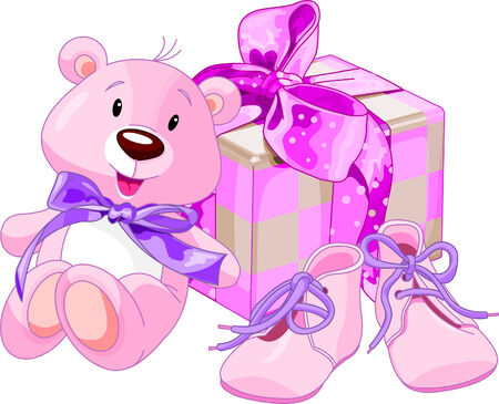girls with bows: Illustration of gifts for cutest newborn baby girl Illustration