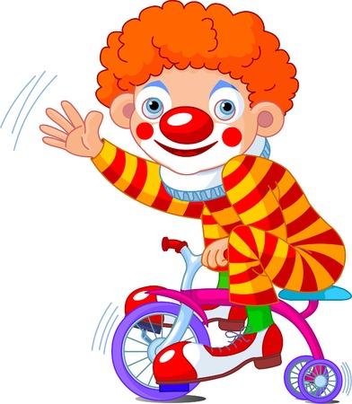 payasos caricatura: Payaso divertido en tres ruedas de bicicleta  Vectores