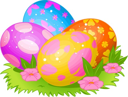 Beautiful coloring Easter eggs on the meadow Vector