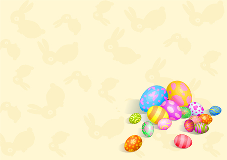 Beautiful coloring Easter eggs on pattern background