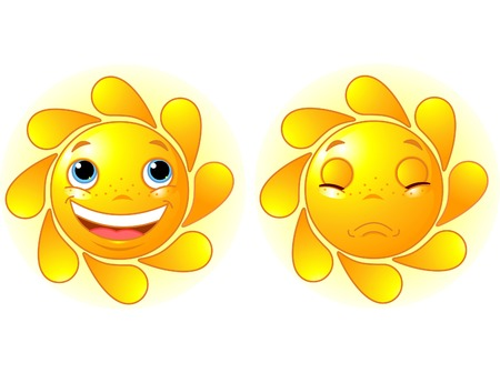 Happy Sun and Sad Sun Stock Vector - 6658820