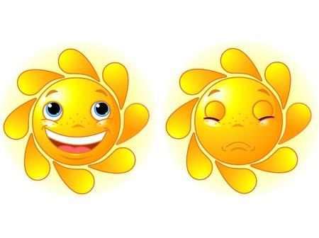 human face: Happy Sun and Sad Sun