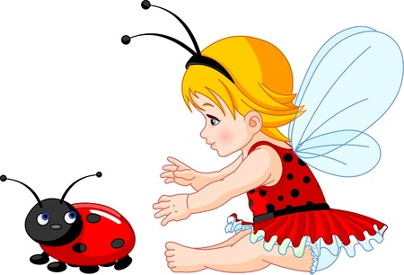 The little fairy girl tries to catch a ladybird Stock Vector - 6658860