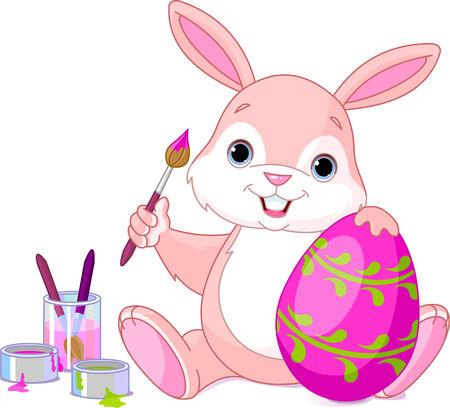 Illustration d'un lapin de Pâques de peinture un oeuf Banque d'images - 6658853