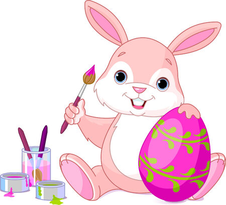 descriptive: illustration of an Easter Bunny painting an egg