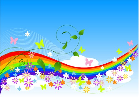 Abstract Spring Background with rainbow, flowers and butterflies Vector