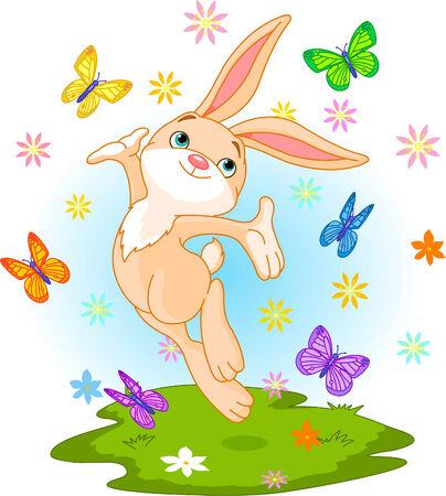 Lindo conejito poco saltando sobre la pradera de primavera