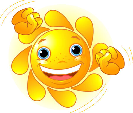 positivism: Cute and shiny Sun dancing in the sky