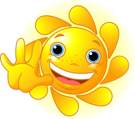 Cute and shiny Sun waiving hello Vector