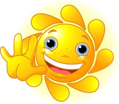 Cute and shiny Sun waiving hello 矢量图像