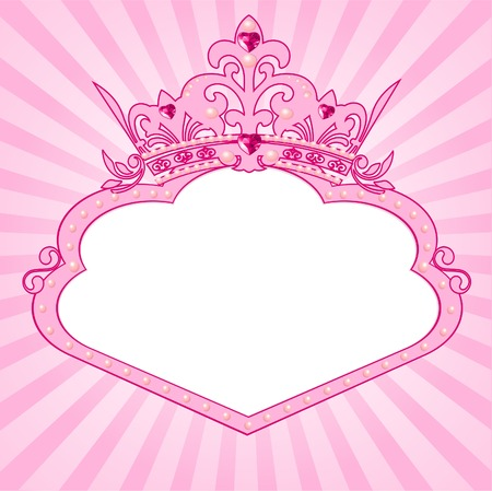 princess crown: Beautiful background with crown frame for true princess