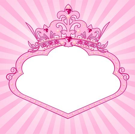 corona de princesa: Hermoso fondo con marco de corona para la verdadera Princesa