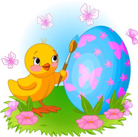 Ilustracja o kurczak Easter malowanie jajka Ilustracje wektorowe
