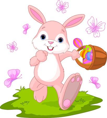 Vector illustratie van Easter Bunny verbergen Eggs  Stockfoto - 6714370