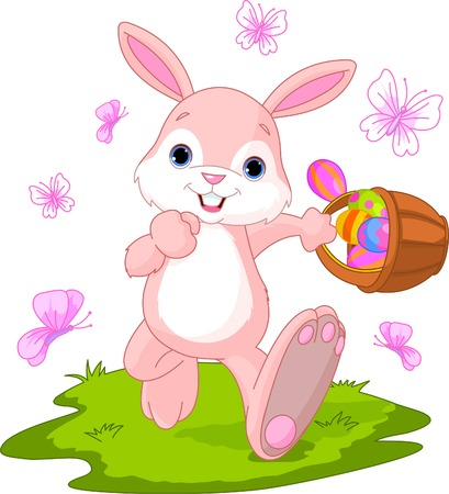 Vector illustration of Easter Bunny Hiding Eggs