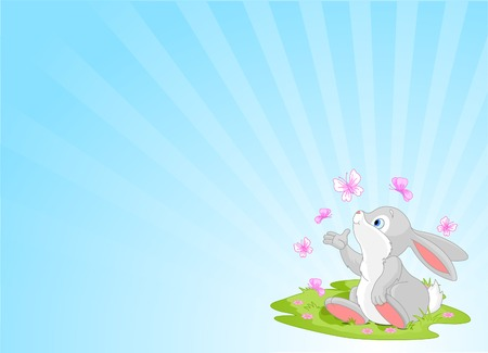 A cute Easter bunny sitting on the spring meadow.  Vector