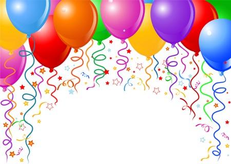 konfeti: Background of balloons, confetti and falling streamers. Çizim