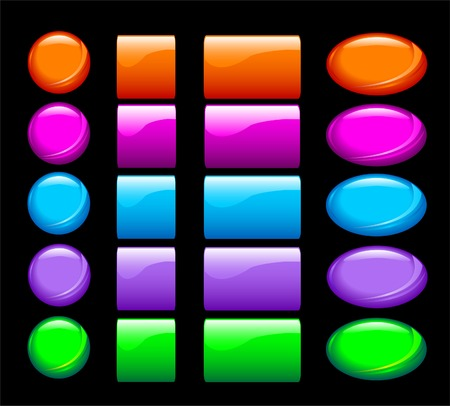 A set of  simple shiny buttons on black background