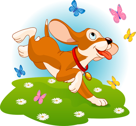 The cute fun puppy tries to catch the butterfly on the meadow Vector