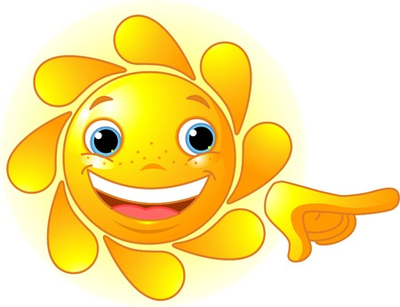 cartoon face: Cute and shiny Sun points a finger at something