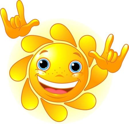 """Leuke en glanzende zon die toont: """"Ik hou van jou"""" -gebaar"""