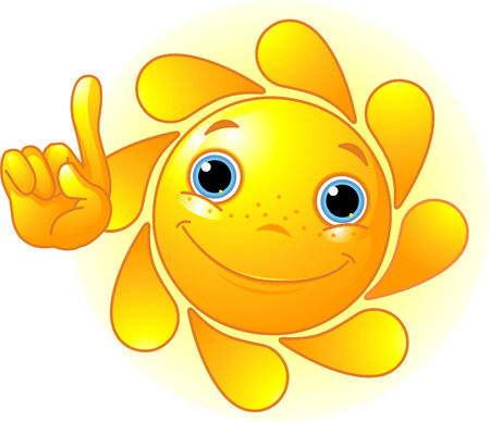 positivism: Cute and shiny Sun points a finger at up