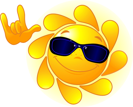 "Cute and shiny Sun with sunglasses showing ""I love you"" gesture"