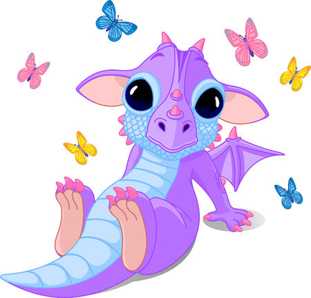 Cute sitting baby dragon with butterflies