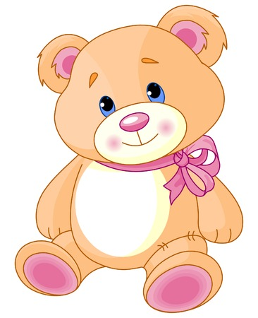 A rough, painterly childs Teddy bear