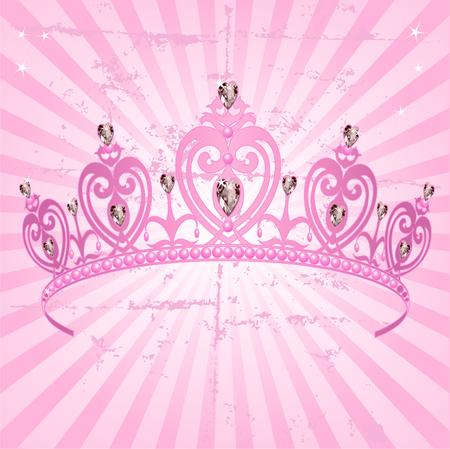 Beautiful shining true princess crown on radial grange background Vector