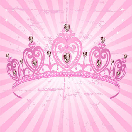 Beautiful shining true princess crown on radial grange background Illustration