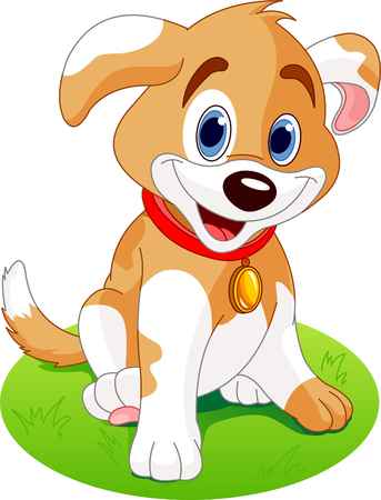 cute dog: Illustration of a cute puppy, wearing a red collar with a dog tag.