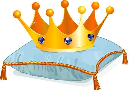 corona de rey: Corona de oro de la reina en la almohada azul