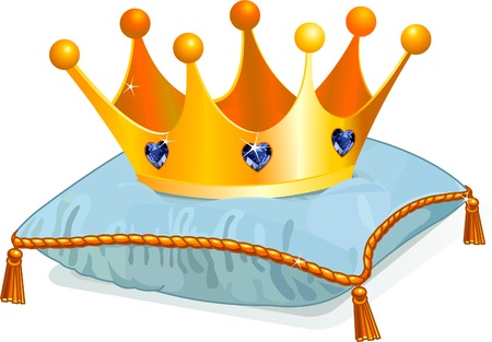 fashion story: Gold Queens  crown on the blue pillow Illustration