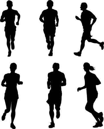 competitive sport: Drawing competition on the run. Silhouettes on a white background  Illustration