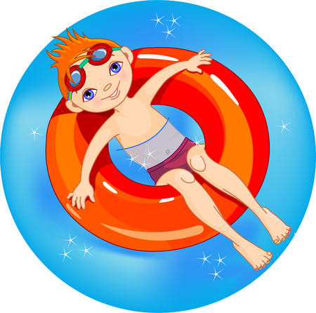 children swimming: Very cute boy on a green lifesaver