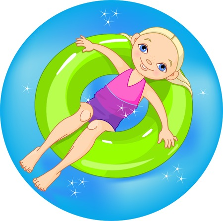 floating: Very cute girl on a green lifesaver