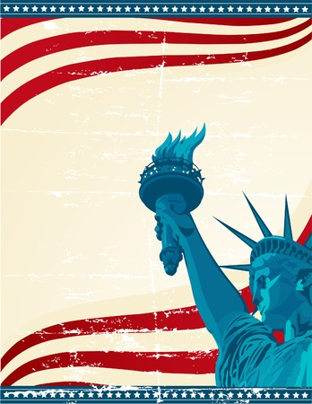 fourth of july: A grunge poster with the statue of liberty Illustration