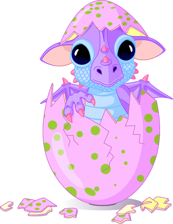 Cute baby dragon hatched from one egg Vector