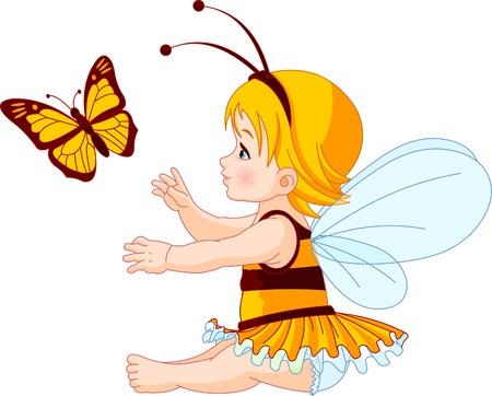 Het kleine fairy meisje probeert te vangen een vlinder Stock Illustratie